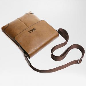 Retro Letter and PU Leather Design Messenger Bag For Men -