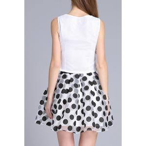 Embroidered Top and Polka Dot Print Ball Skirt -