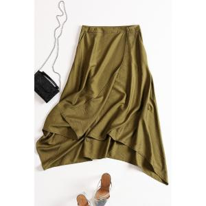 Solid Color Asymmetric Skirt -