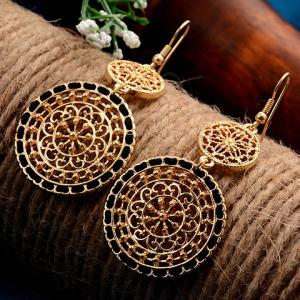 Filigree Flower Round Drop Earrings - BLACK