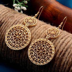 Filigree Flower Round Drop Earrings - Yellow