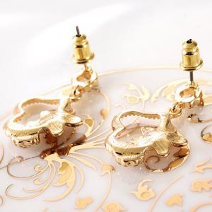Pair of Rhinestone Flower Hollow Out Drop Earrings - GOLDEN