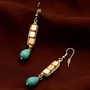 Pair of Ethnic Cube Shape Water Drop Pendant Earrings -