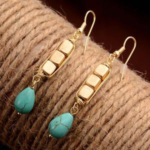 Pair of Ethnic Cube Shape Water Drop Pendant Earrings - GOLDEN