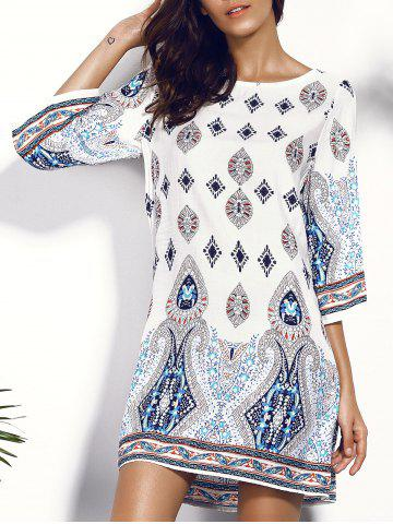 Printed Chiffon Backless Casual Shift Dress - Colormix - L
