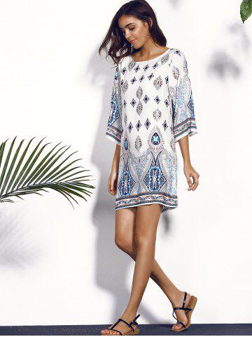Best Printed Chiffon Backless Casual Shift Dress - M COLORMIX Mobile