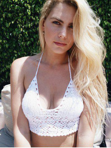 Fancy Halter Knitted Cute Bikini Top - ONE SIZE(FIT SIZE XS TO M) WHITE Mobile