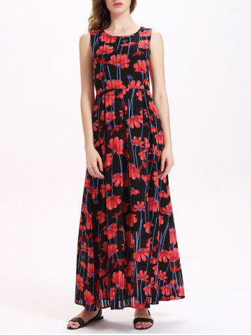 Buy Floral Print Sleeveless Maxi Chiffon Dress RED M