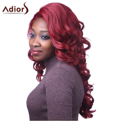 Attractive Long Red Capless Fluffy Curly Synthetic Adiors Wig For Women - RED
