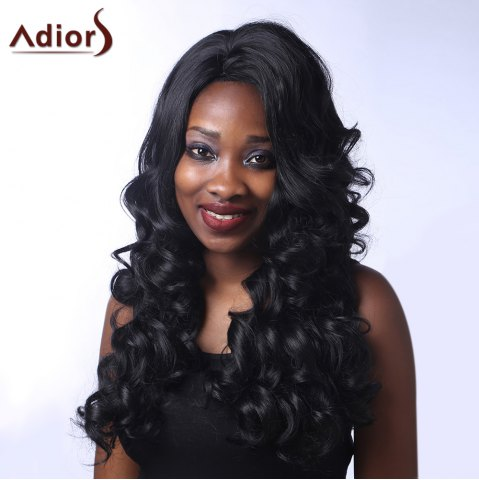 Sale Outstanding Long Side Parting Fluffy Curly Black Synthetic Adiors Wig For Women BLACK