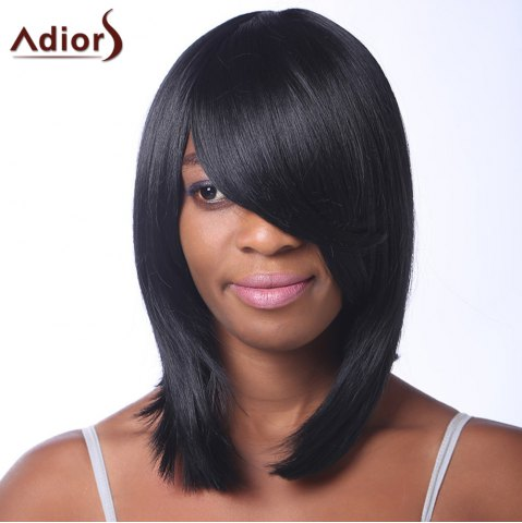 Online Trendy Black Medium Capless Straight Heat Resistant Synthetic Adiors Wig For Women BLACK