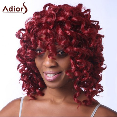 Latest Stunning Dark Red Medium Capless Fluffy Curly Synthetic Adiors Wig For Women DEEP RED