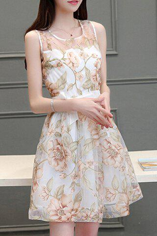Affordable Chic Women's Scoop Neck Sleeveless Voile Splicing Floral Print A-Line Dress