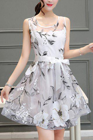 Hot Chic Women's Voile Splicing Scoop Neck Sleeveless Floral Print A-Line Dress
