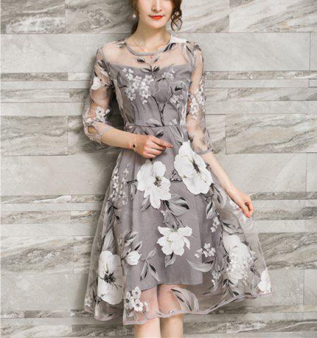 Online Chic Women's Voile Splicing 3/4 Sleeve Floral Print A-Ling Dress