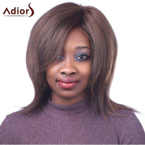 Bouffant Straight Synthetic Fashion Brown Mixed Outstanding Centre Parting Capless Wig For Women