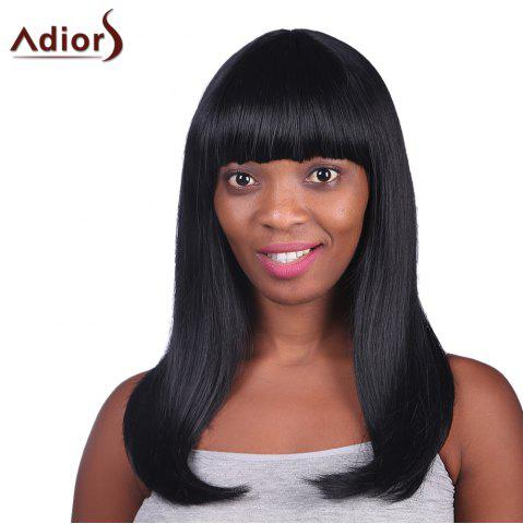 Outfit Graceful Full Bang Long Capless Charming Black Glossy Straight Heat Resistant Fiber Women's Wig