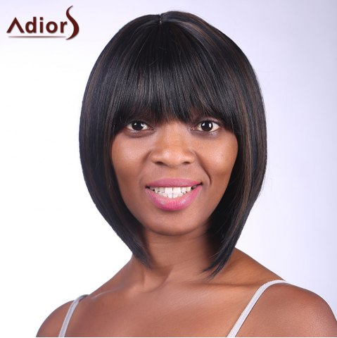 Fancy Fashion Full Bang Brown Mixed Black Charming Short Straight Synthetic Capless Wig For Women