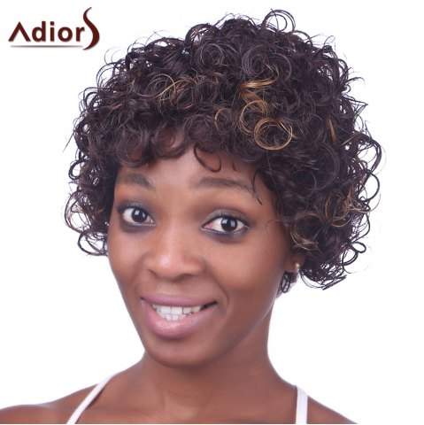 Outfits Charming Light Brown Mixed Synthetic Fluffy Kinky Curly Short Capless Wig For Women