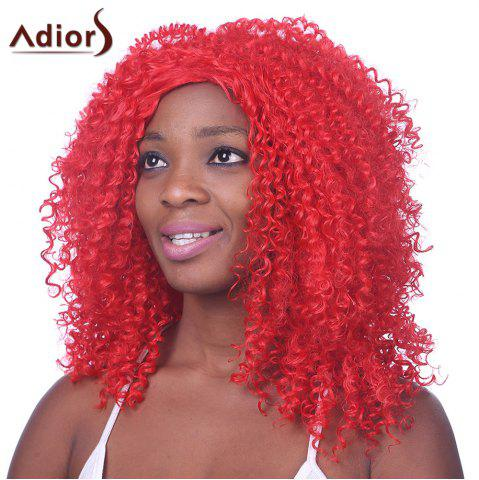 Fashion Red Long Heat Resistant Fiber Shaggy Afro Curly Capless Wig For Women