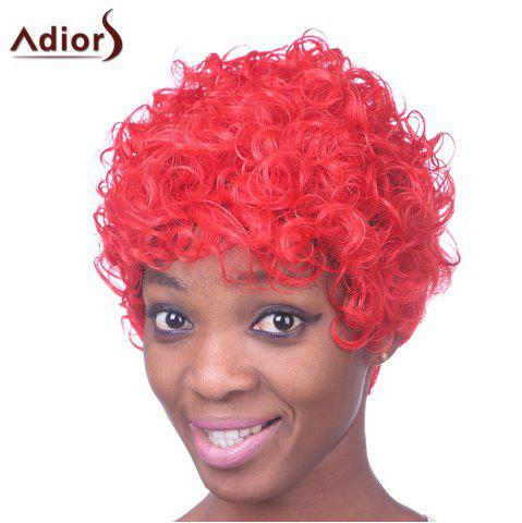 Hot Fashion Short Red Capless Fluffy Curly Inclined Bang Heat Resistant Fiber Wig For Women RED