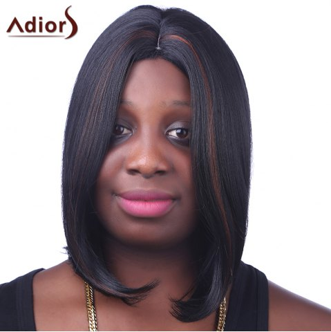 Cheap Fashion Medium Synthetic Brown Highlight Straight Bob Style Centre Parting Women's Wig