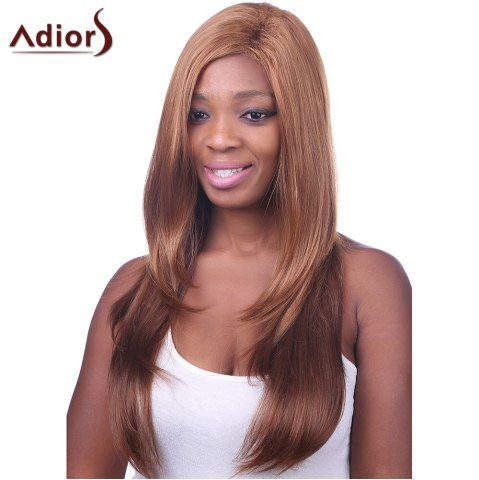 Discount Fashion Side Bang Gold Brown to Deep Brown Ombre Charming Long Straight Capless Wig For Women