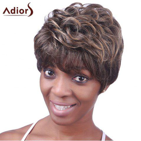 Affordable Ultrashort Curly Hairstyle Full Bang Heat Resistant Deep Brown Towheaded Women's Capless Wig COLORMIX