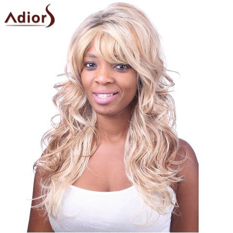 Fashion Charming Sexy Side Bang Fluffy Long Big Curly Black BT Golden Synthetic Women's Capless Wig