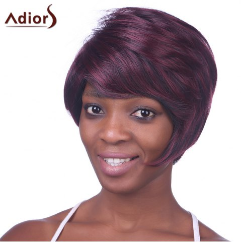 Cheap Fashion Side Bang Wine Red Highlight Charming Short Straight Synthetic Capless Wig For Women