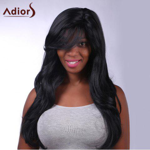New Charming Long Black Capless Fluffy Wave Side Bang Synthetic Adiors Wig For Women