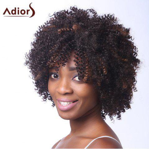 Affordable Vogue Brown Highlight Capless Fluffy Afro Curly Short Synthetic Adiors Wig For Women