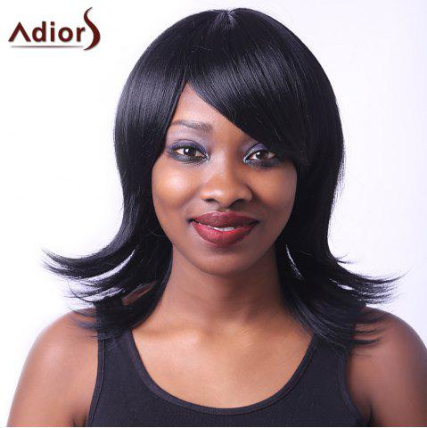 Latest Noble Straight Inclined Bang Capless Black Medium Synthetic Adiors Wig For Women