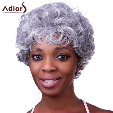 Stylish Silvery Gray Short Capless Fluffy Curly Heat Resistant Synthetic Adiors Wig For Women - COLORMIX