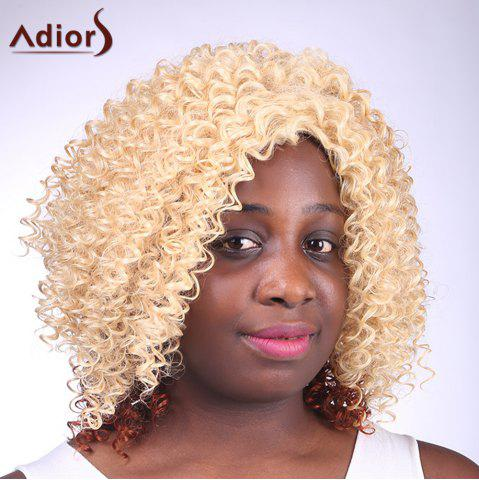 Outfit Fashion Blonde Brown Ombre Medium Capless Fluffy Curly Synthetic Adiors Wig For Women