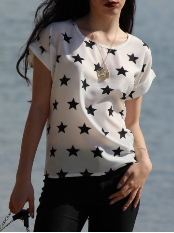 Discount Trendy Short Sleeve Round Collar Star Print Chiffon Women's Blouse