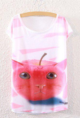 Graphic Apple Cat T-Shirt - WHITE ONE SIZE(FIT SIZE XS TO M)