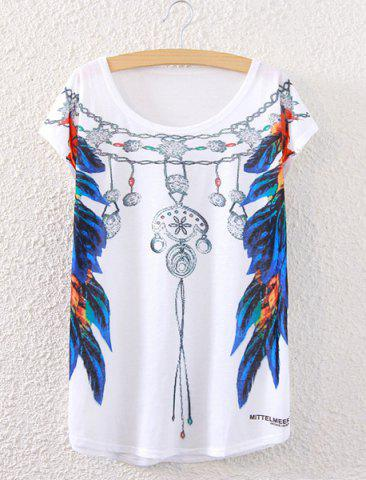 Shop Stylish Short Sleeve Feather Necklace Print Women's T-Shirt