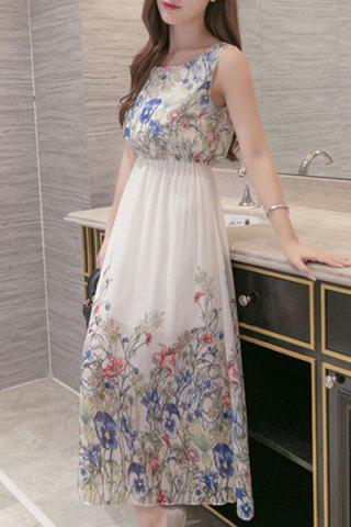 Online Floral Printed Chiffon Maxi Cocktail Dress WHITE M