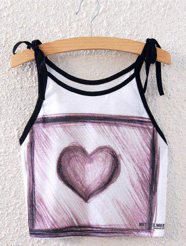 Discount Fashionable Spaghetti Strap Sketch Design Heart Print Women's Tank Top