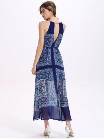 Elegant Halter Sleeveless Print Belted Waist Loose Women's Chiffon Maxi Dress от Rosegal.com INT