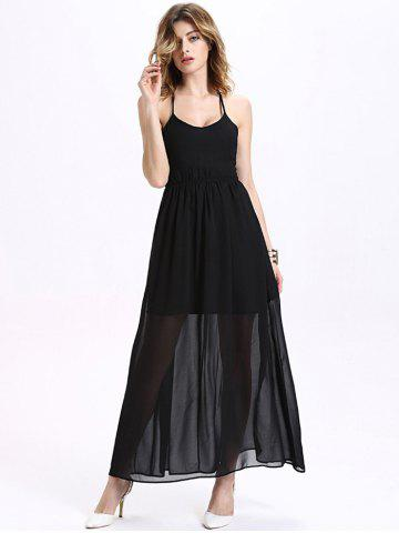 Buy Maxi Halter Neck Criss Cross Backless Chiffon Dress BLACK M