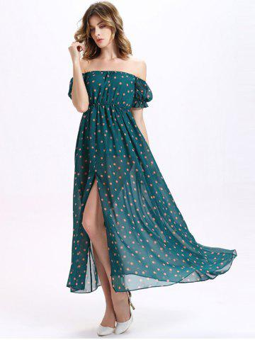 Affordable Off-The-Shoulder Puff Sleeve Polka Dot Chiffon Split Maxi Dress GREEN M