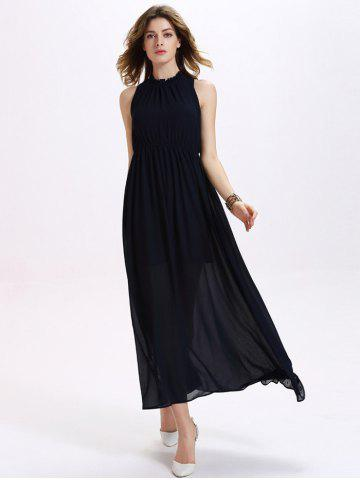 Trendy Ruffled Neck Sleeveless Backless Elastic Waist Women's Chiffon Maxi Dress - Purplish Blue - M