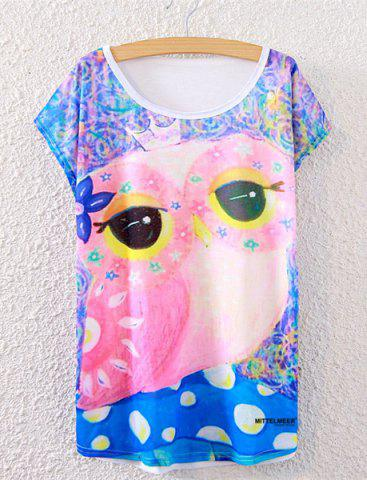 Fashion Owl Print Cute T-Shirt COLORMIX ONE SIZE(FIT SIZE XS TO M)