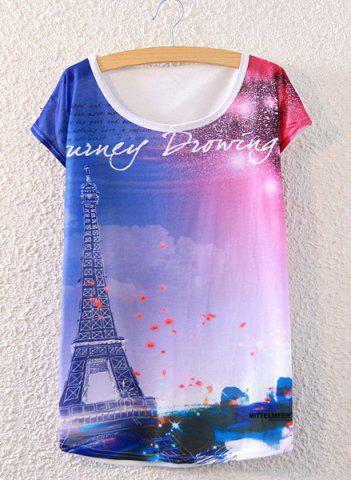 Cheap Chic Scoop Neck Tower Print Loose-Fitting Women's T-Shirt