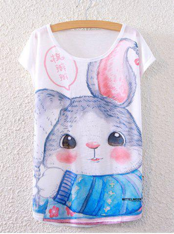 Sale Chic Scoop Neck Rabbit Print Loose-Fitting Women's T-Shirt