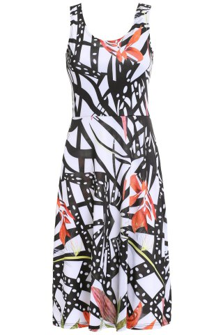 Chic Women's Scoop Neck Belted Print Tank Dress - COLORMIX M