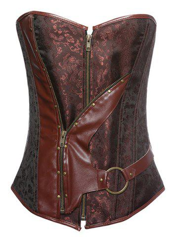 Outfits Chic Strapless Zipper Design Lace-Up Spliced Women's Corset