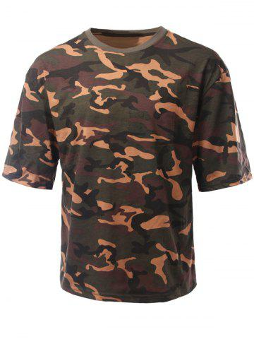 Chic Round Neck Loose-Fitting Camouflage Drop Shoulder Short Sleeve T-Shirt For Men